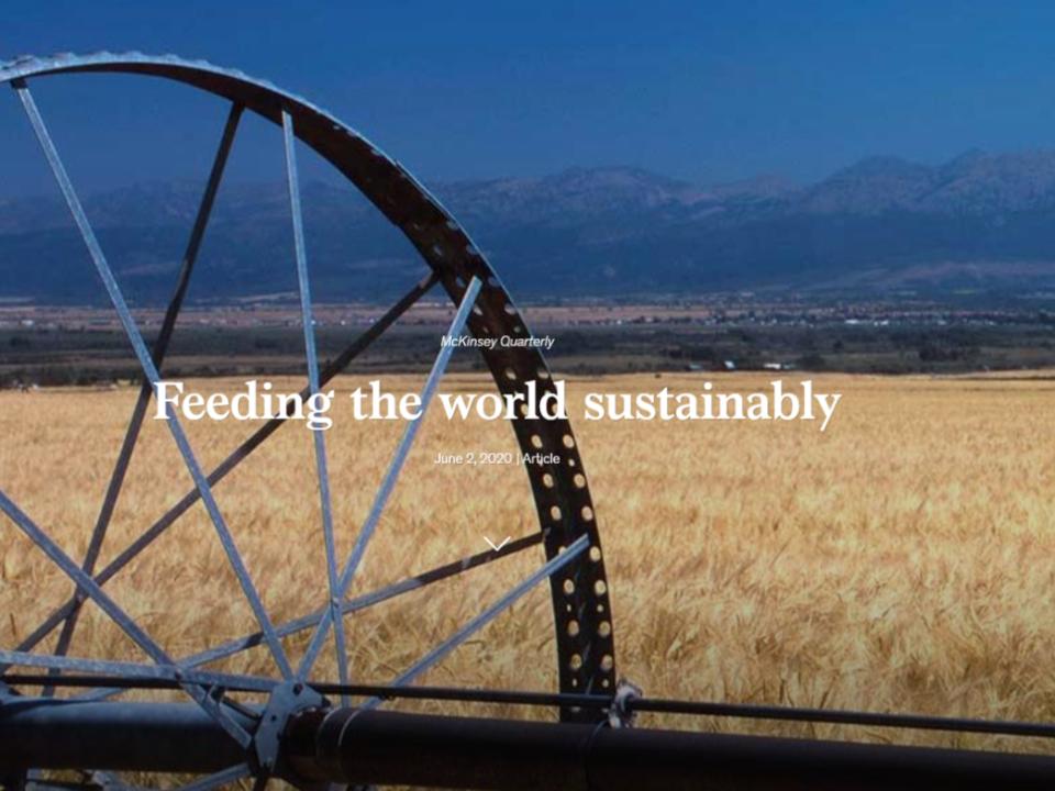 【農業觀測站】麥肯錫報告:農業永續發展的布局策略